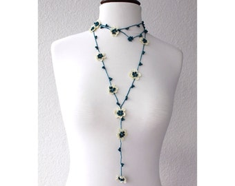 FREE SHIPPING Crochet Flower Necklace with beads Hand Crocheted Lariat Necklace, Bracelet or Belt