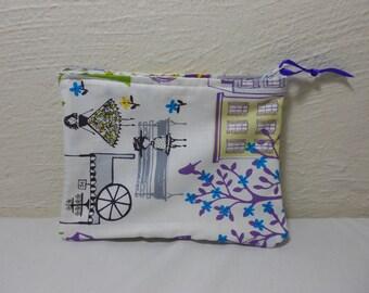 "Paris Inspired Cosmetic Bag, Jewelry Bag, Travel Bag, Multi-use Lined Zipper Bag 5-1/2"" x 7-1/2"""