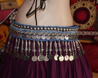 Tribalbelt with Fishpendants, Vintage, Tribal Style Dance, Bellydance, Purple Tribalbelt