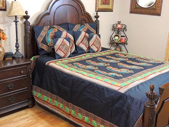 Paisley bestickt schwarz tagesdecke set dekorativ gesteppte for Tagesdecke paisley