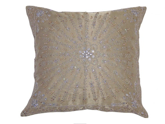 Floor Pillow Covers 25x25 : Beige Shimmering Large Floor Pillow Cover Unique Kundan