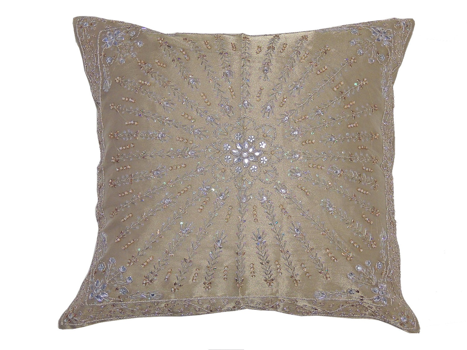 Etsy Large Floor Pillows : Beige Shimmering Large Floor Pillow Cover Unique Kundan