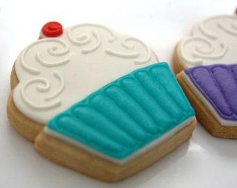 "1 Dozen Decorative 3.5"" CupCake Shortbread Cookies"