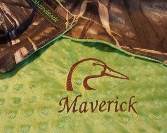 Max 4 camo baby blanket, lime green camo baby blanket, personalized camo baby blanket