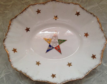 Vintage OES - Order of the Eastern Star - Royal Stafford Bone China candy/trinket/soap dish. Made in England. #585