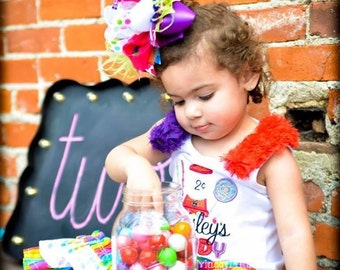 Candy Land Themed birthday set with Super ruffle Capris and over the top Tank