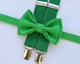 Green Bow Tie & Green Suspenders -- Boys Christmas Outfit -- Baby Christmas Outfit