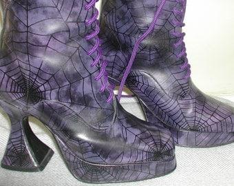 US L 8 Purple platform mid calf slim fit boots -UK 6 EU 39 - rare fantasy shoes by Underground, England