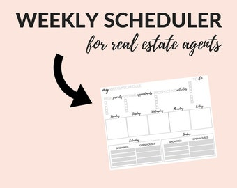 Real Estate Weekly Planner, Real Estate Templates, Real Estate Stationery, Daily To Do List