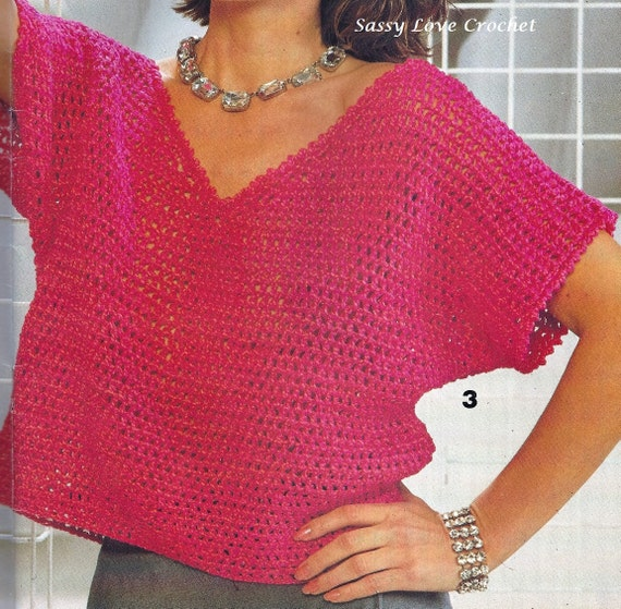Crochet Hot Pink Pullover Sweater Top Pattern Summer Womens