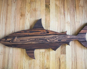 """Shark Pallet Wood Wall Decor- 41"""" (Stained)"""