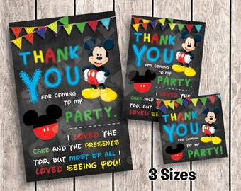 3 Sizes - Mickey Mouse Thank You Cards / Favor Tags for Birthday Party | Printable  | INSTANT DOWNLOAD