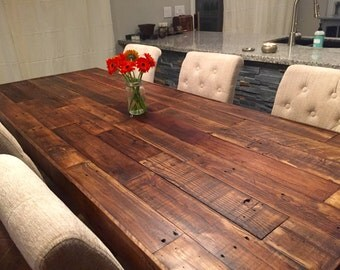 custom reclaimed wood farm dining table walnut - farmhouse harvest large and apartment size kitchen tables beach house cabin