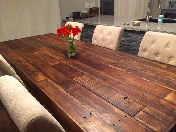 Custom reclaimed wood farm dining table walnut farmhouse - Custom kitchen table ...