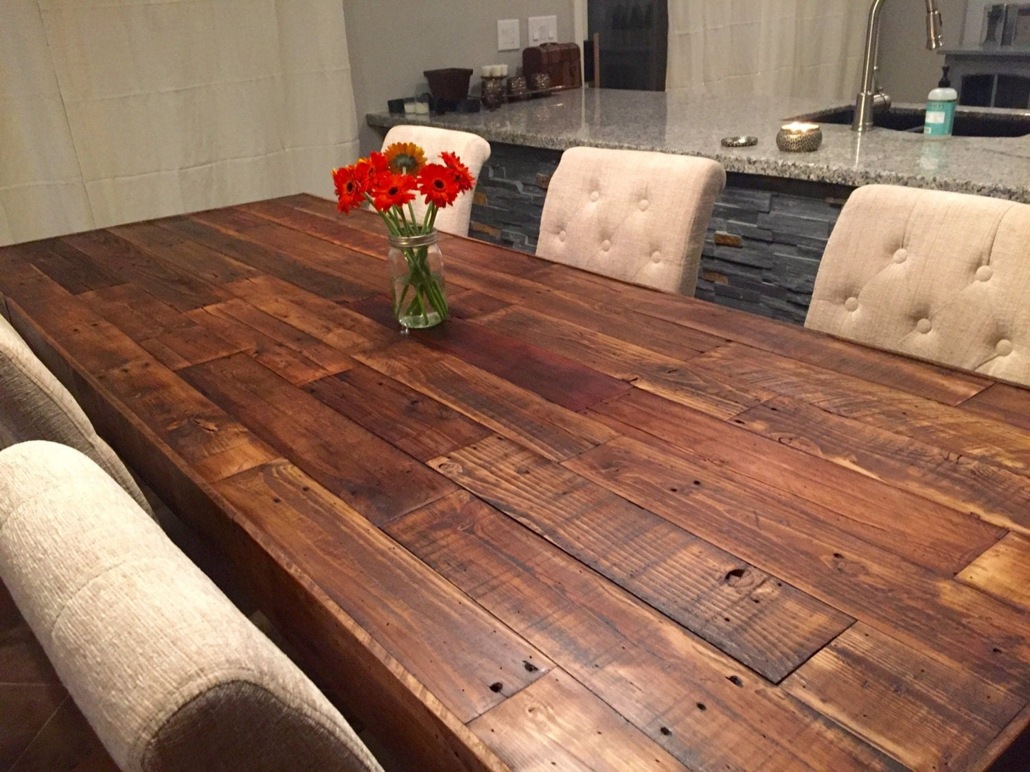 Custom Reclaimed Wood Farm Dining Table Walnut Farmhouse