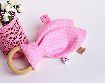 Wooden teething ring, Bunny ear teether,  Teething ring, Baby girl toy, Organic Baby Teether, Baby shower gift