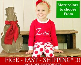 Free Shipping * Family Christmas Pajamas - Embroidered Monogram Christmas Pj's -  Christmas Pajamas for the family