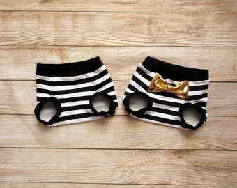 Black & white diaper cover with or w/o bow / baby shorts / tooshies / shorties