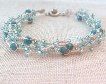 Boho aquamarine bracelet, Crochet beaded multi strand bracelet