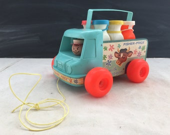 Vintage Fisher Price Milk Truck - Milk Wagon - Display Toy - Pull Toy  //LNJ