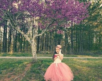White Top and Dark Pink Tutu Dress/Toddler Tutu Dress/Flower Girl Tutu Dress/Princess Tutu Dress/Birthday Tutu Dress/Long Tutu Dress
