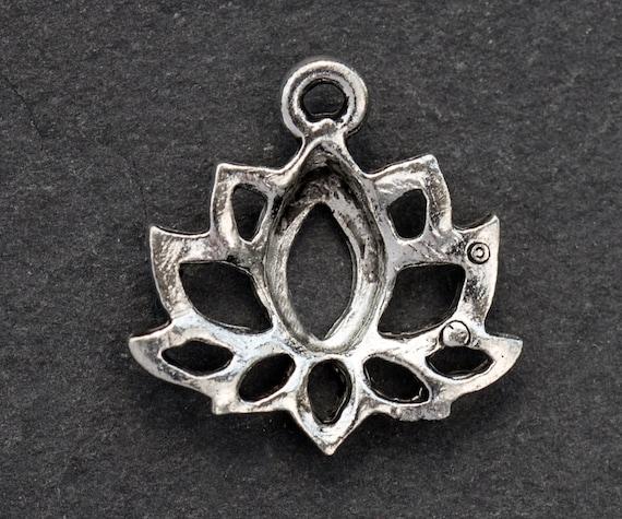2 Pcs Lotus Charm Silver Lotus Flower Charm Buddhist