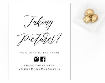 Wedding Photos Sign, Social Media Sign, Wedding Picture Sign, Oh Snap