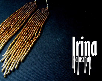 Gold Beaded earrings, bronze earrings, bead earrings, modern earrings, boho earrings, fringe earrings, Native, from bronze to light gold