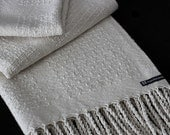 Handwoven Raw Silk and Cotton Scarf - Extra Long - For men and Women - Cream - Natural