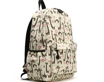 Middle Size Animal Printing Round Backpack (Giraffe)