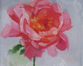 EXAMPLE ONLY.  5x5 Oil Painting. Pink Flower. Small Art. SOLD