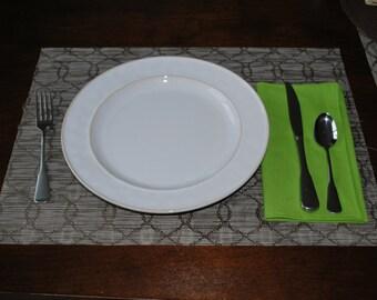 Green Cloth Napkins - 8 Bright Green Cloth Napkins Free US Shipping