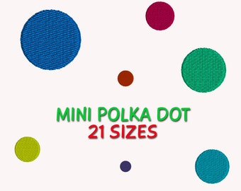 Mini Polka Dots Embroidery Design,  21 sizes DIGITAL INSTANT DOWNLOAD 133