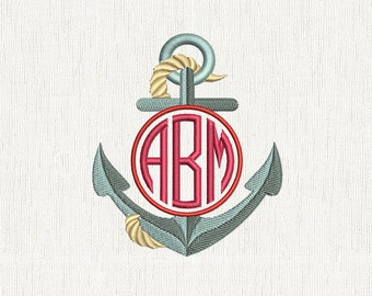 Anchor Embroidery Circle Monogram, Nautical Machine Design, Sailor Anchor INSTANT DOWNLOAD 019