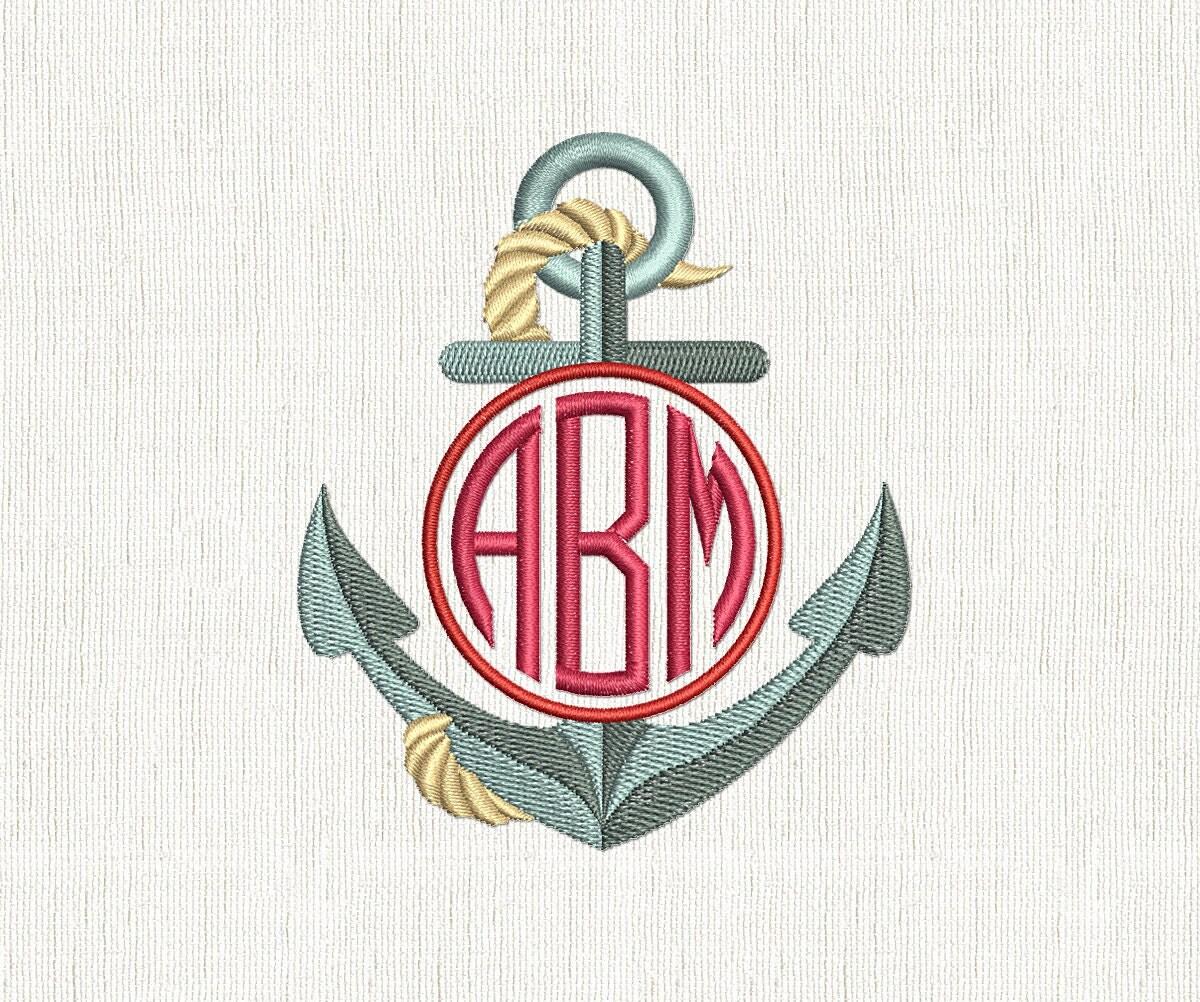 Anchor embroidery circle monogram nautical machine design