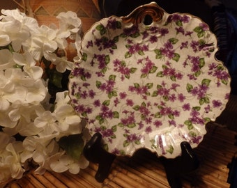 "Norcrest Japan 8"" Decorative Wall Plate with Purple Floral Theme"