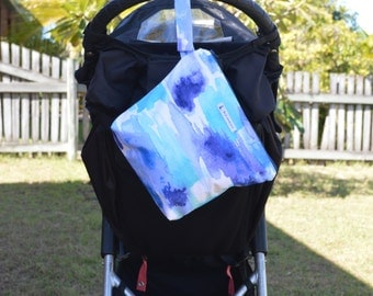 Large Wet bag, swim bag, nappy bag, waterproof PUL bag - Aquatic Sapphire