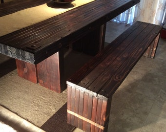 Wide Legged Plank Dining Table & Bench