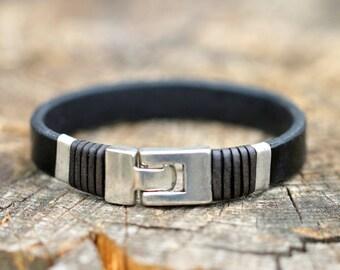 Leather bracelet, mens leather bracelet,,leather wristband, gift for him, boho bracelet, anniversary gift, men's single band
