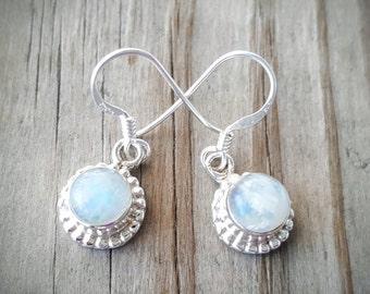 Moonstone Earrings - Gemstone Earrings - Sterling Silver Moonstone Earrings - Rainbow Moonstone Jewelry - June Birthstone Gift