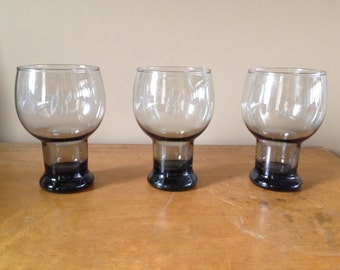 3 Vintage Smoky Glass Footed Tumbler/Beer Glass