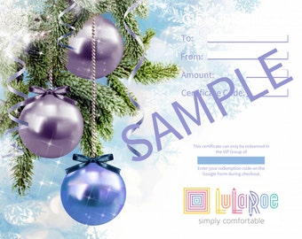 Holiday Gift Certificates - Tempalte for Consultants - Purple Ornaments (Digital) (See details in description)
