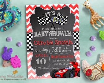 Race Car Baby Shower Invitation / Digital Printable Invite / DIY Party