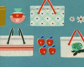 Clearance! 40% Off BTHY Picnic Baskets Blue PICNIC Quilting Cotton Fabric Melody Miller