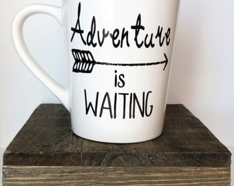 Adventure is waiting 14oz coffee mug, coffee cup, gifts for her, gifts under 25, wanderlust mug, adventure mug, mothers day, birthday gift