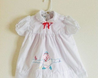 Vintage White Cotton Sailor Baby Girl Dress / Nautical Beach Dress Size 24 Months 2T