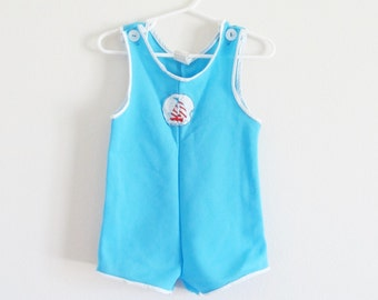 Vintage Baby Boy Blue Sailor Summer Shorts / Toddler Size 18 Months Overall Romper Jumper Outfit