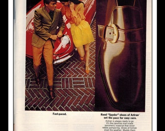 "Vintage Print Ad August 1969 : Aztran B.F. Goodrich Rand ""Spyder"" Shoes Advertisement Color Wall Art Decor 8.5"" x 11"""