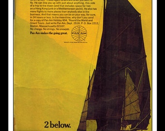 "Vintage Print Ad October 1969 : Pan Am Airlines Ad Sailboat Ocean Advertisement Color Wall Art Decor 8.5"" x 11"""