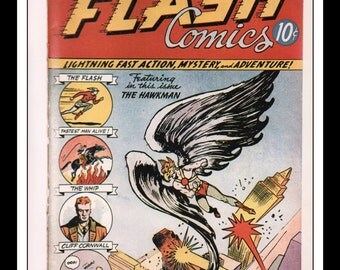 "Vintage Print Ad Comic Book Cover : Flash Comics #2 The Flash February 1940 Dennis Neville Illustration Wall Art Decor 8.5"" x 11"""